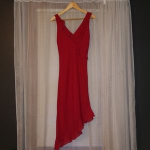 Red frilly cocktail dress